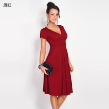 New 2017 Women's Fashion Dresses Sexy V-Neck Dresses Retro Dresses Short Sleeves Knit Casual Dresses Women's Clothing Vestidos