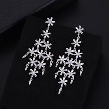 SisCathy 2019 Hot Full Cubic Zirconia Earrings For Women Elegant Romantic Big Pendant Dangle Drop Party Jewelry