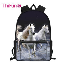 Thikin Horse Animals Pattern Students School Bag  Teens Backpack Big Capacity Supplies Package Shoulder Women Mochila