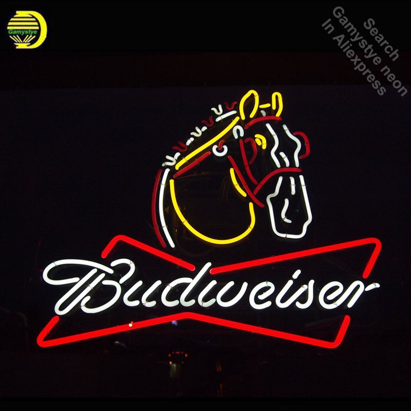 Budweise Clydesdale Horse Neon Sign neon bulb Sign neon lights Sign glass Tube Handcraft Iconic Neon Bulbs Professional lights