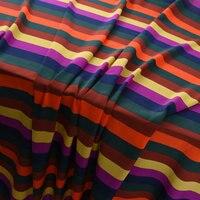 Rainbow Stripe Design Printed 100% Silk Crepe De Chine Fabric 16m/m 140cm