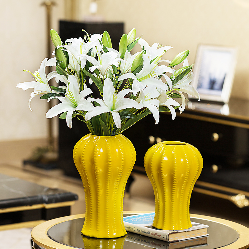 iMall & Creative Ceramic vase Ornament yellow Porcelain Tabletop flower vases for centerpieces for weddings home decoration accessories