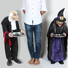 Halloween Decoration Electric Horror Props Toys Housekeeper Witch Halloween Standing Ghosts Home Haunted House Bar Doorway Decor