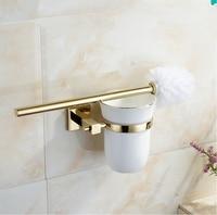 2016 Classic Bathroom Hardware Accessories,High quality Brass Gold finish Toilet Brush Holder&WC Creative Brush Set/