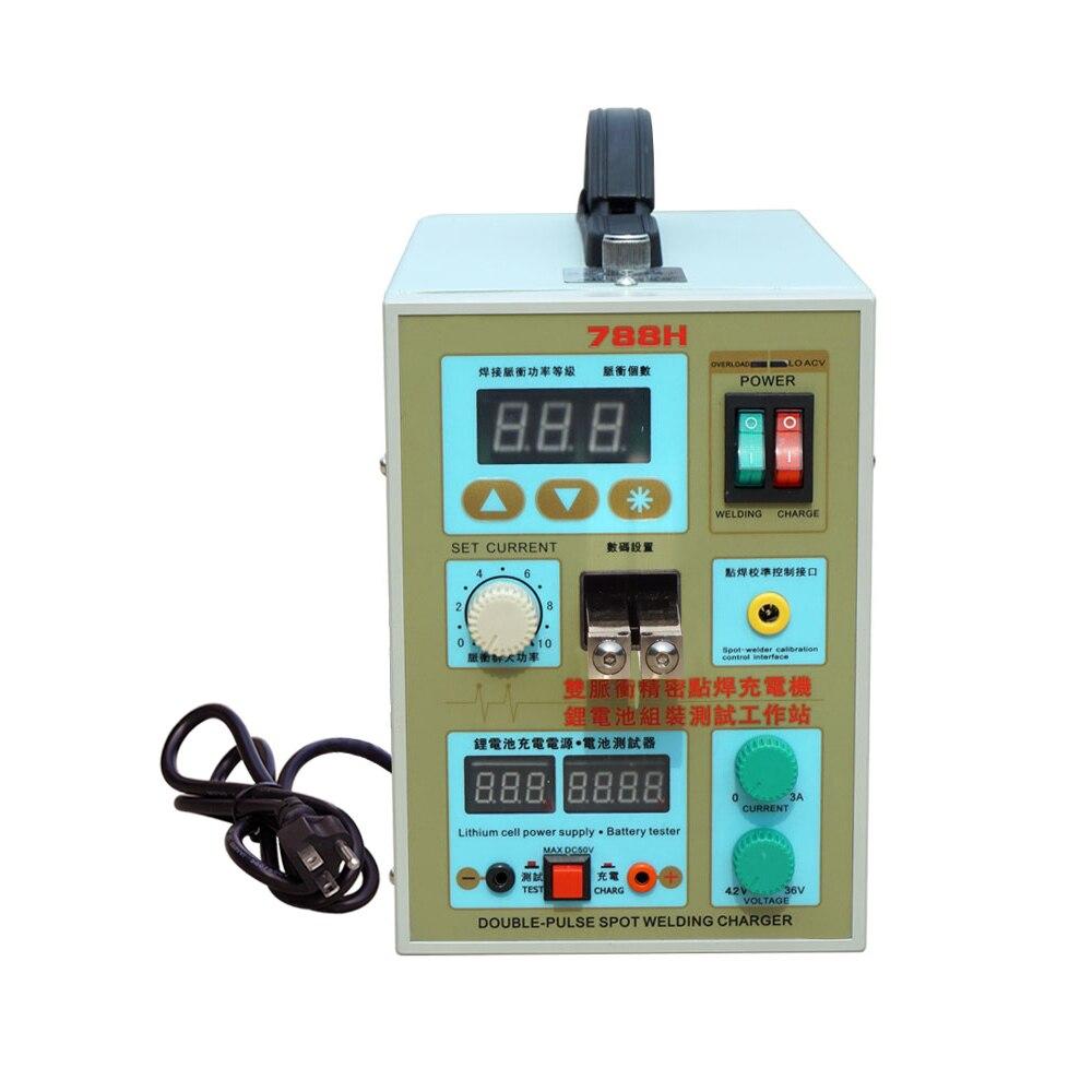 788H LED Dual Pulse Spot Welder Machine 18650 Battery Charger AC 110V 60A 36V