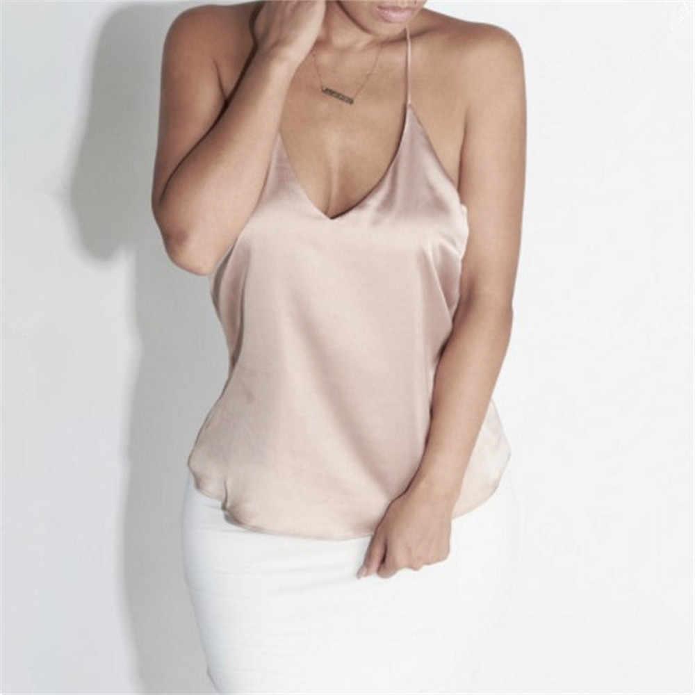2019 moda lato kobiety panie Sexy jedwabne Backless top na ramiączkach bluzka seksowna kamizelka Slim koszulka top kamizelka bez rękawów lato modne ciuchy