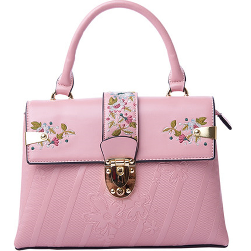 2017 New Fashion PU Leather Embroidery Embossing Women Casual Tote Shoulder Handbags Messenger Bags Crossbody Red Pink Blue Bag