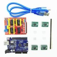 Impressora 3D máquina de gravura do cnc escudo v3 + 4 pcs A4988 motorista board + placa de expansão UNO R3 com cabo USB