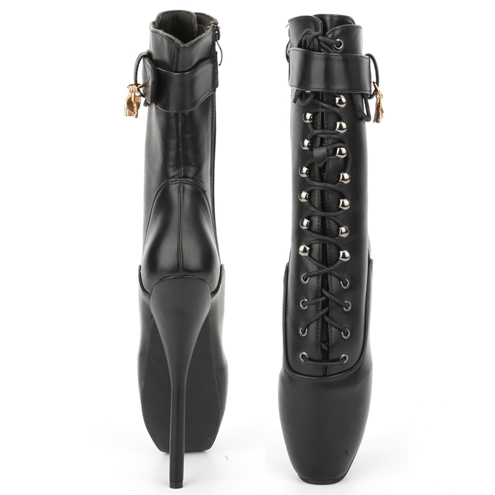 Jialuowei Ballet Boots High Heel Spike Black PU Cross Tied Lace Up - Zapatos de mujer - foto 5