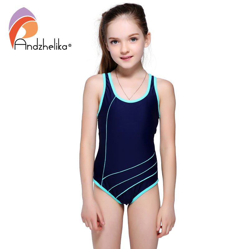 Andzhelika Children's Swimwear Sport One Piece Girls Beach Sport Bodysuit Solid Patchwork Kid Bathing Suit Girl Monokini AK87182