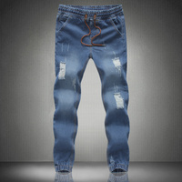 2015 Jeans Stretch Hommes Famous Brand Men Ripped Jeans Top Fashion Hole Jeans Men Slim Printed