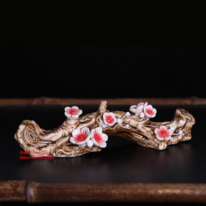 1piece Handmade Ceramic Brush holder Mei Hua Wintersweet Brush Rack Penholder for Calligraphy Brush Pen Holder