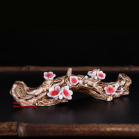 1piece Handmade Ceramic Brush holder Mei Hua Wintersweet Brush Rack Penholder for Calligraphy Brush Pen Holder