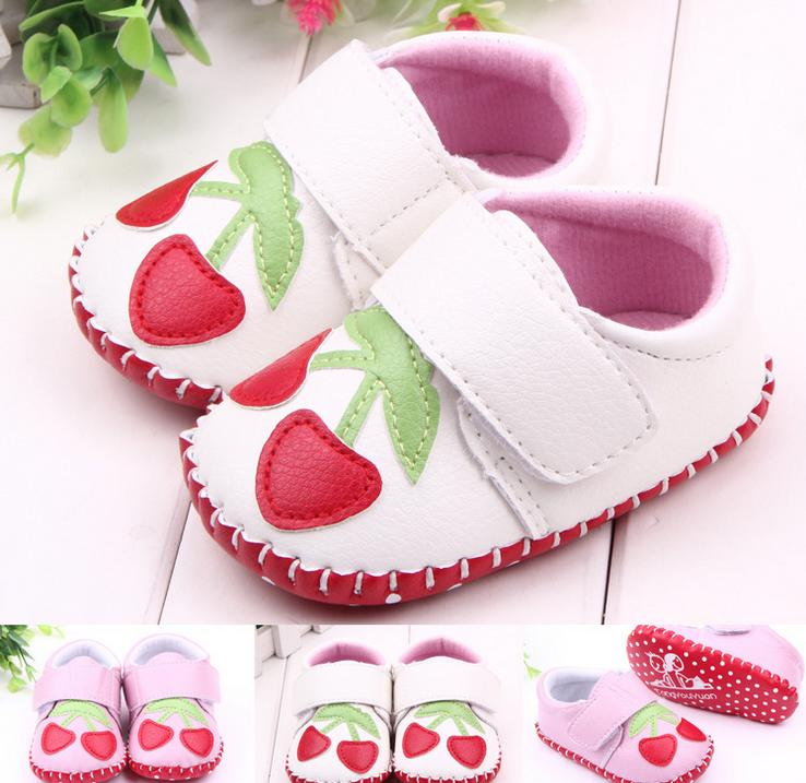 High Quality Sweet Strawberry Patchwork PU Leather Manual First Walkers 0-12 Months Unisex Baby Boys Girls Shoes