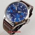 42mm CORGEUT blau zifferblatt blau luminous datum gangreserve Automatische herren Uhr 122-in Mechanische Uhren aus Uhren bei