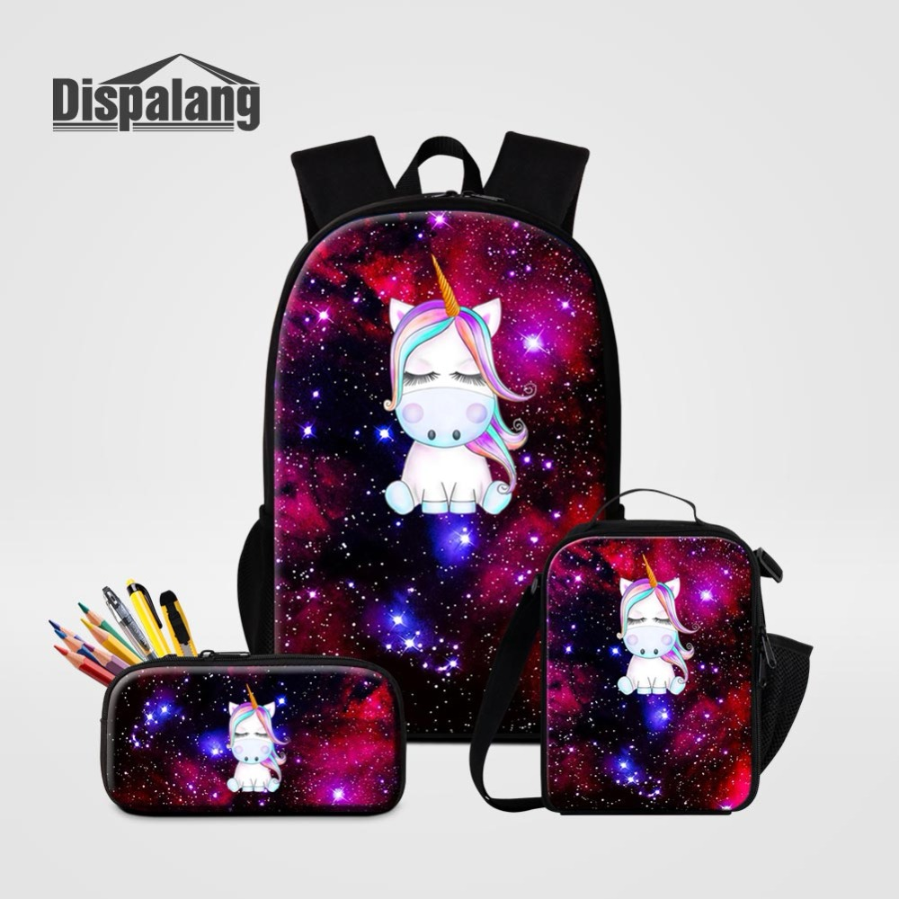 Universe Space Unicorn Designer School Bags Pencil Bag Lunchbox For Primary Students Children Fashion 3 PCS