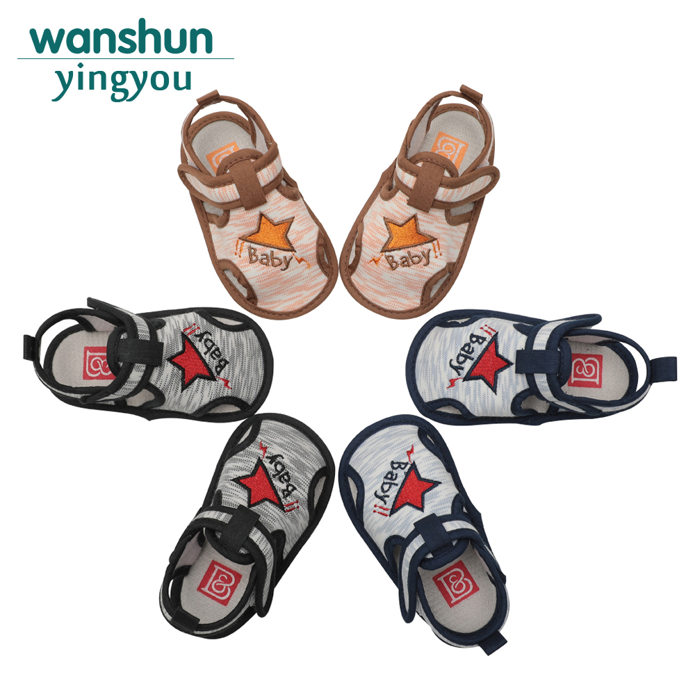 baby boys Sandals for kids infant cute toddler baby shoes Summer newborn black coffee blue Hook & Loop soft sole Anti-slip 2018