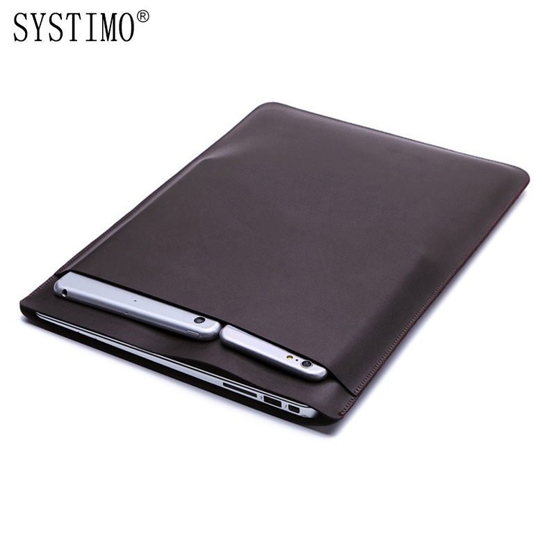 SYSTIMO PU Leather Laptop Bag Sleeve For Apple Macbook Air Pro Retina 11 12 13 15 Inch For Macbook Air 13.3 Case With Touch Bar