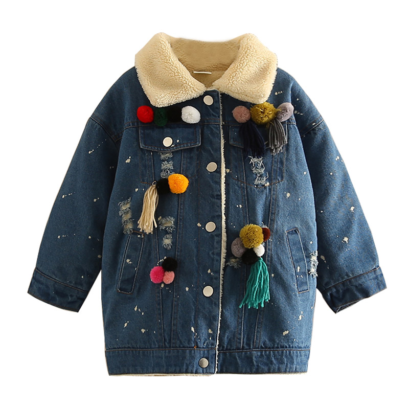Children Boys Girls Denim Jacket 2018 Thick Warm Fashion Children's Clothing Hooded Denim Jacket Children Denim Jacket 3-10T