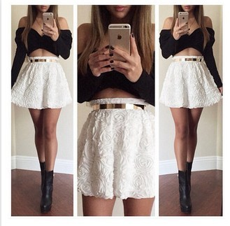 a3b77a2aed65a1 2 Piece Set Women Black Strapless Crop Top Skater Skirt Set Long Sleeve Off  Shoulder Cropped Top White Floral Crochet Lace Skirt