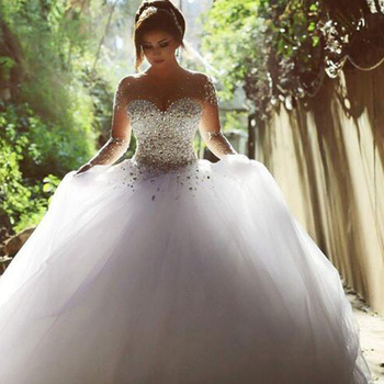 2019 Gorgeous Wedding Dresses Crystal Beading Scoop Vestido de Noiva Tulle Long Sleeve Wedding Gown Bridal Dress Robe De Mariee