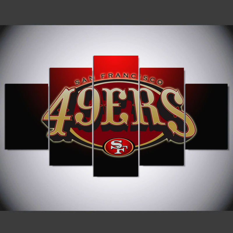 5 Panels 49ers Logo Canvas Wall Art Picture Home Decoration Living Room Canvas Print Painting On The Wall Artwork Ny 055