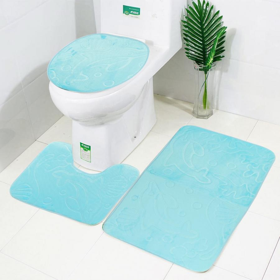3Pcs/Set Dolphin Shower Curtain Rug Lid + Toilet Cover Mat Non-Slip Bath Bathroom Supplies