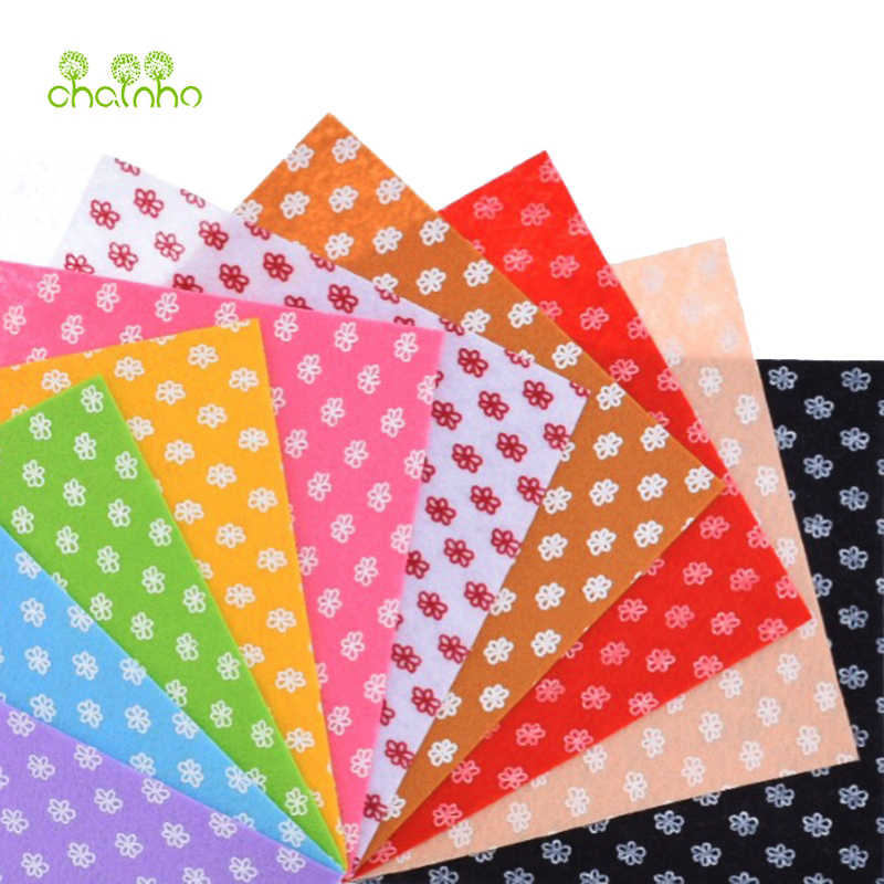 Print Flower Non Woven Felt Fabric 1mm Thickness Polyester Cloth  Sewing Dolls Crafts Home Decoration Pattern Bundle10pcs15x15cm