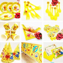 цена на Disney Winnie The Pooh Kids Birthday Party Decoration Straw Party Supplies Baby Birthday Party Pack Event Party Supplies Disney