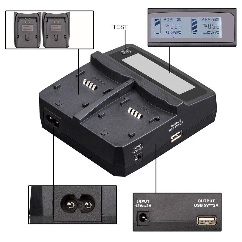Udoli NP-FW50 NPFW50 NP FW50 Batterie Voiture Chargeur Double avec Port USB Pour Sony NEX-7 NEX-C3 NEX-5N NEX-3 NEX-5 NEX-F3 A37 A55 A33 - 3