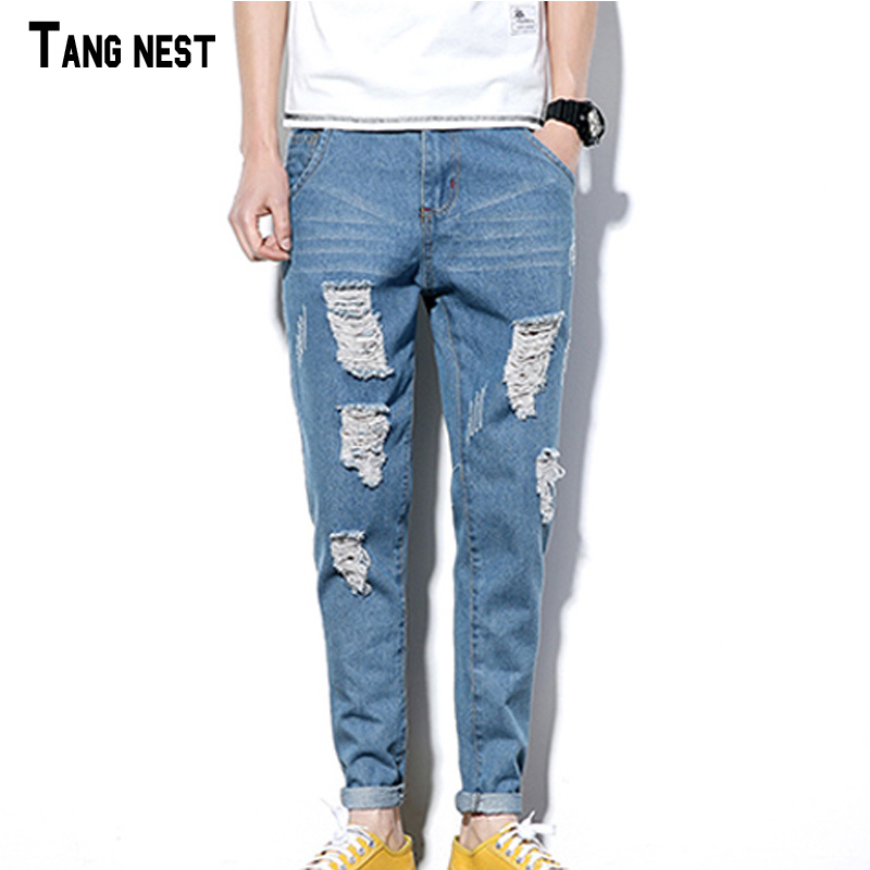 TANGNEST Men Hole Jeans Hot Summer Distressed Skinny Long Jeans Pencil Pants Denim Light Blue Male Ripped Casual Jeans MKN988