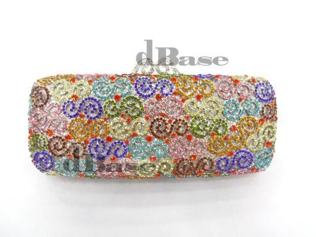 ФОТО 8204L-B Crystal Flower Floral lady fashion Bridal Party hollow Metal Evening purse clutch bag handbag