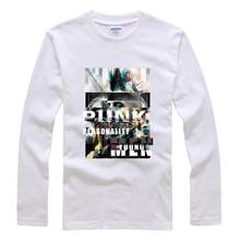 2016 100% Cotton Men's Fashion Printing T Shirt  Pure Color Long Sleeves Punk Shirt