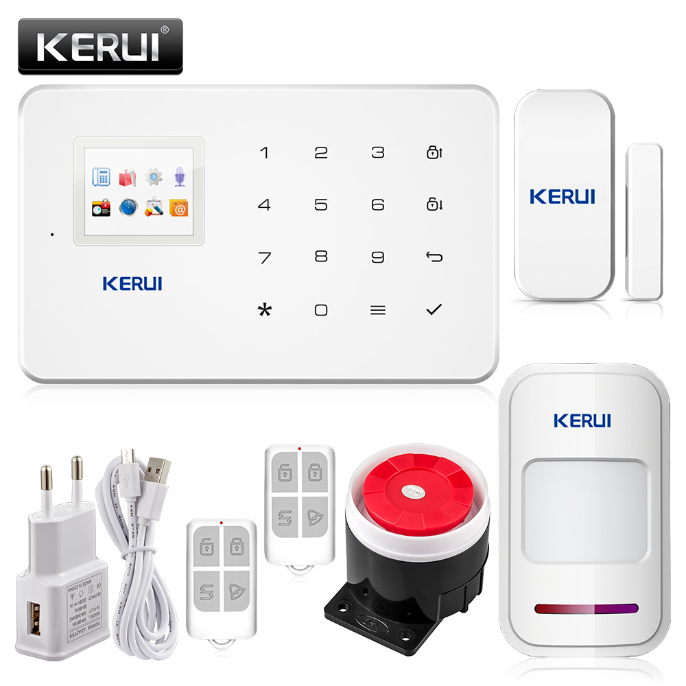 KERUI G18 TFT Touch GSM Alarm Wireless IOS/Android APP Control Home Burglar Security Protection Alarm System kerui wireless wired gsm voice burglar home house security alarm app control tft touch panel wireless smoke detector pir sensor