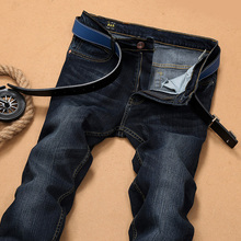 2016 winter famous pants brand baggy stretch   torn   warm men  jeans homme black  denim  trousers