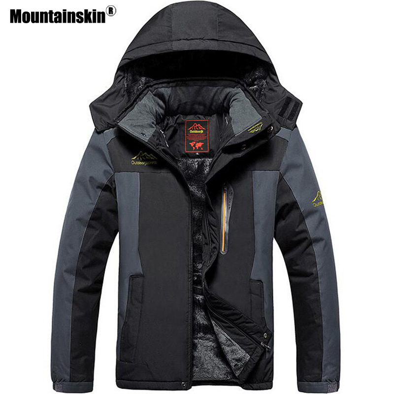 Mountainskin Hommes de Vestes D'hiver Chaud Épaississent Manteaux Imperméables À L'intérieur Polaire Thermique Survêtement Occasionnel Plus La Taille 8XL 9XL SA572