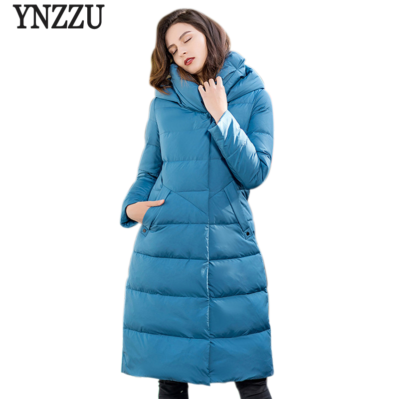 Brand Vintage 2018 Winter Jacket Women Solid Long Style 90% White Duck   Down     Coat   Woman with Hooded Thicken Warm Outwears AO780