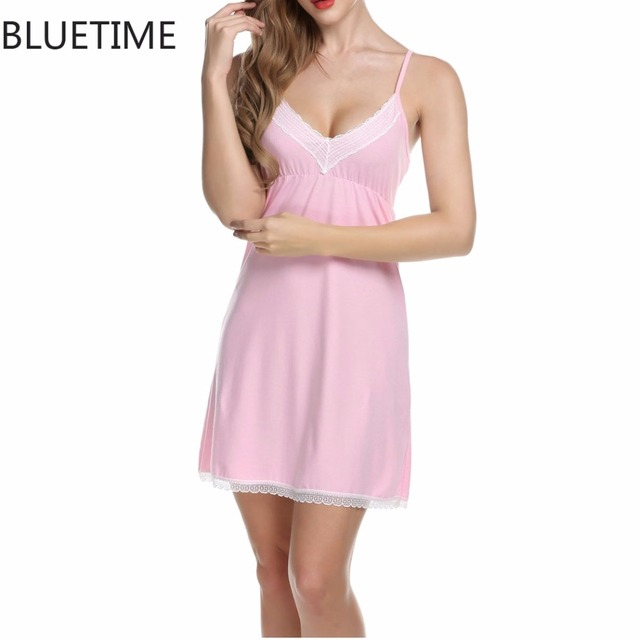 289c298943 Sexy Spaghetti Strap Sleepwear Night Dress V-Neck Lace Splicing Nightdress  Nightgrown Robes Nightwear Nuisette