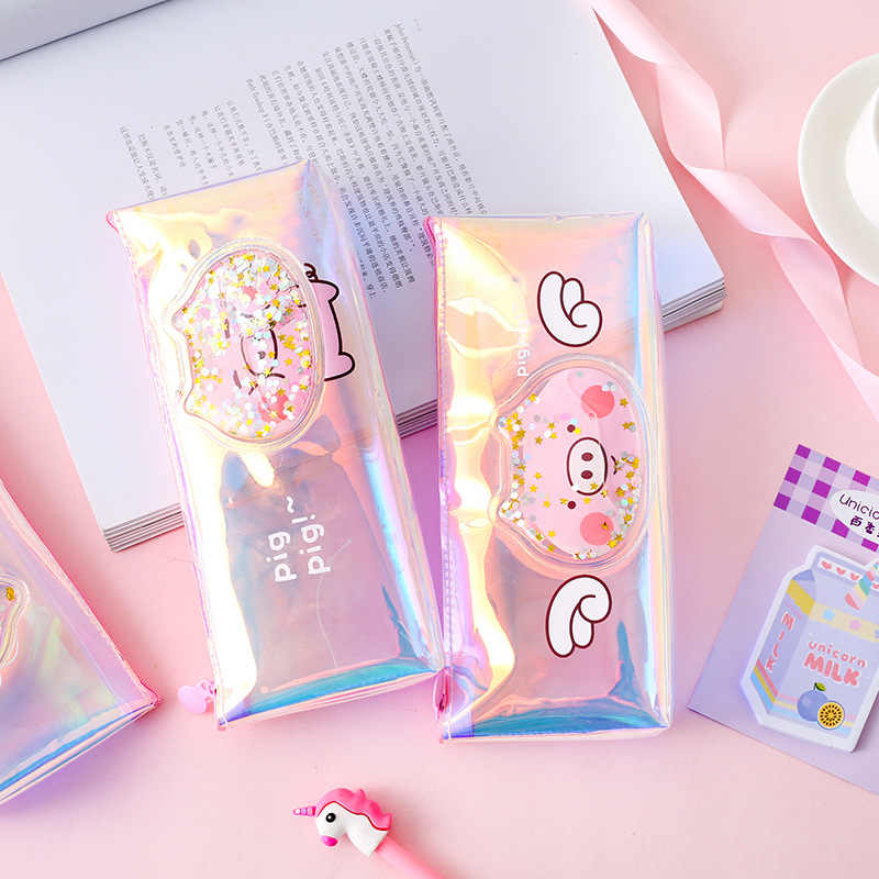 Cartoon pig laser pvc pencil bag pencil pouch Creative Cosmetic pencil bag school office supplies