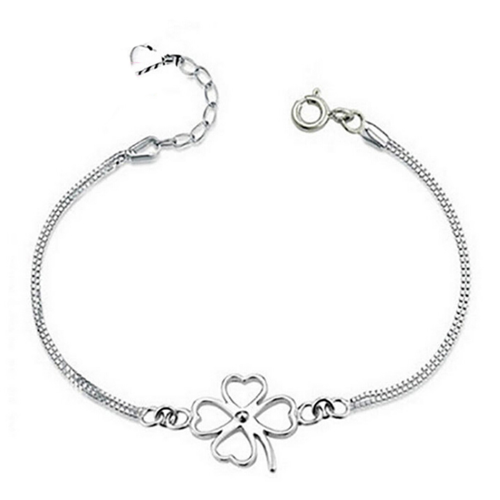 New Fashion Design Gold Silver Color Four-Leaf Clover Pendant Bracelet Beautiful For Women Girl Gift
