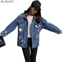 Spring Autumn Women Long Sleeve Denim Jacket Ladies Hole Pocket Buttons Jackets Fashion Casual Female Harajuku