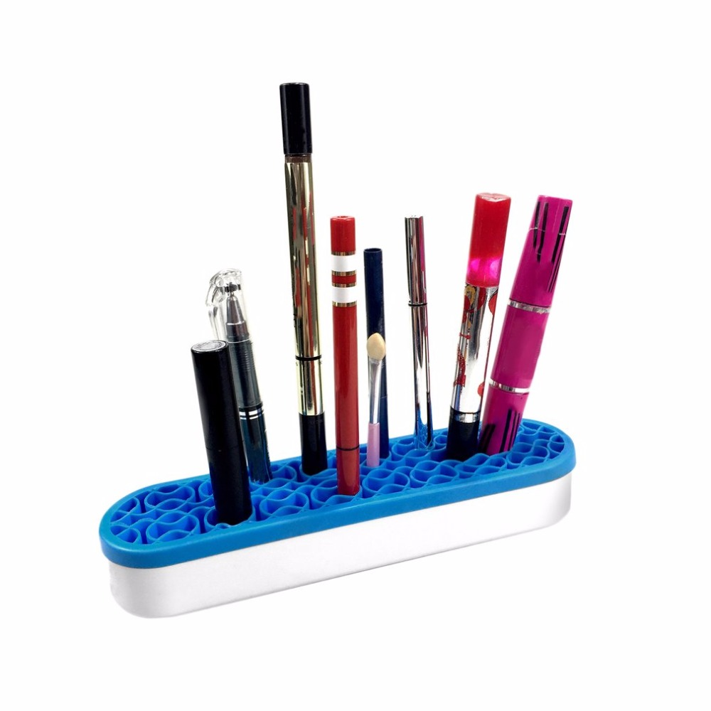 Beauty Unique ABS Silicone Makeup Brushes Storage Box Desktop Cosmetic Brush Organizer Lipstick Holders Make up Tool Accessories in Eye Shadow Applicator from Beauty Health