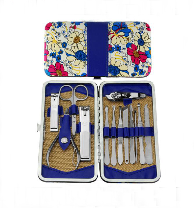 13pc Nail Manicure Set Toe Pedicure Care Tools Nail File Knife Clipper Kit 3pcs stainless steel 360 degree rotatable nail clipper nail manicure file set nail clipper file tweezer pu leather case
