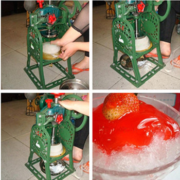 Home Use Manual Snow Cone Machine Ice Shaver Ice Crusher   ZF