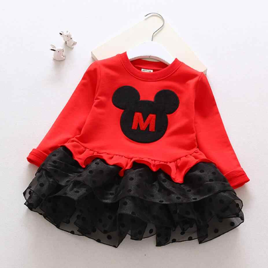 חורף פעוט תינוק ילדי בנות Cartoon מיני קוספליי טול טוטו שמלות ילדים מקרית Mesh כדור שמלת דוט ארוך שרוול שמלה