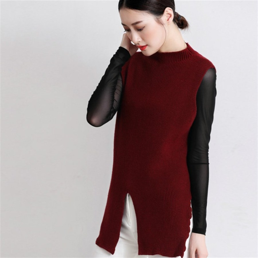 korean fashion spring autumn cashmere blended her new lady cover loose sleeveless design knitting wool sweater vest