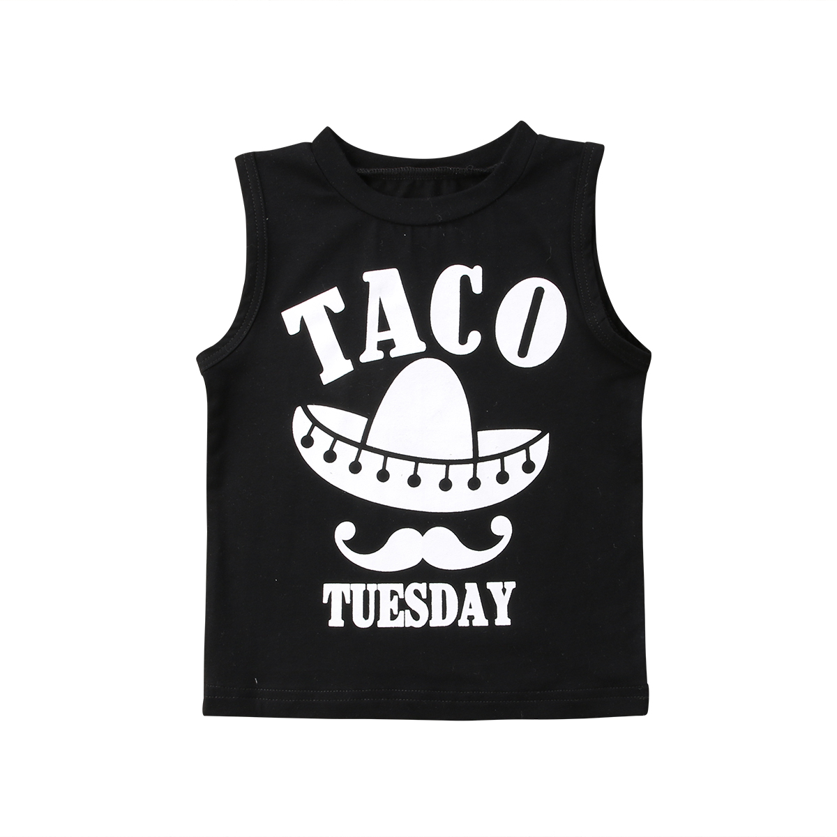 Pudcoco Toddled Baby Kids Boys Girls T Shirt Vest Taco Black Sleeveless Casual Baby Clothes T Shirts 2018 Summer Hot Sale trendy one button sleeveless lace hem black asymmetric t shirt for women