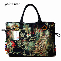 Traditional Ethnic Flower Embroidered Canvas Tote Ladies Vintage Sling Cotton Fabric Shoulder Bag Corss Body Bag
