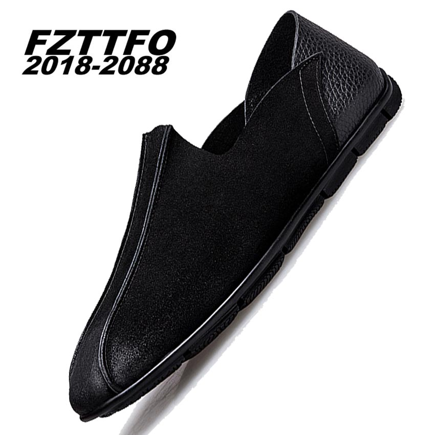 Size 37-44 Men Suede Leather Casual Shoes,FZTTFO 2018-2088 Brand Design Shoes,Spring Autumn Loafers Shoes For Men K482 top brand high quality genuine leather casual men shoes cow suede comfortable loafers soft breathable shoes men flats warm
