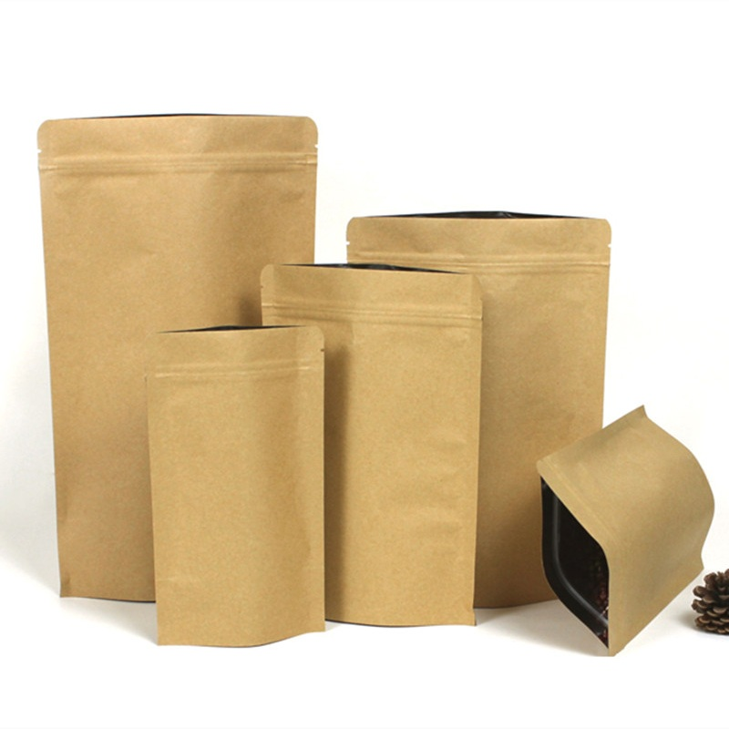 100pcs/lot Brown Stand-up Kraft Paper Zip Lock Packaging Bag Snack Nuts Powder Pouch Gift Party Wedding Retail Craft Paper Bag
